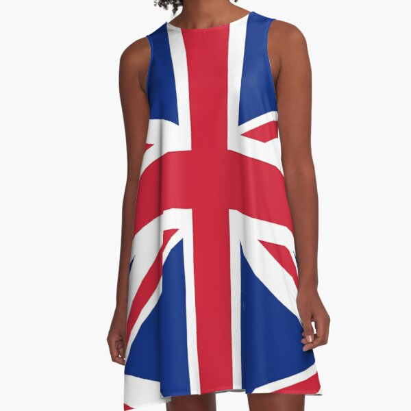 Union Jack. FULL COVER. British Flag. UK. United Kingdom. Pure & simple. 1:2. A-Line Dress