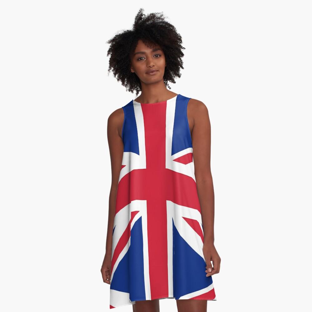 Union Jack, FULL COVER, British Flag, UK, United Kingdom, Pure & simple, 1:2. A-Line Dress