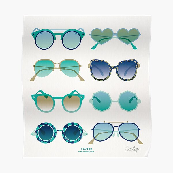 Sunglasses Collection – Turquoise & Navy Palette Poster