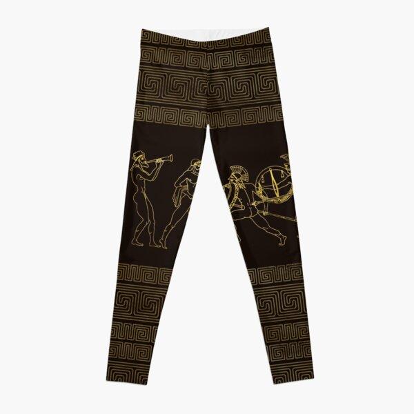Ancient Sparta  Greece scene on greek pattern Leggings