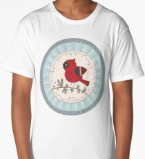 red cardinal on holly Long T-Shirt