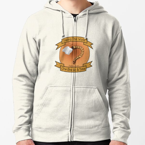 Saving the world with Superworms Zipped Hoodie
