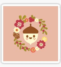 Acorn and Flowers Pattern Design / Blush Pink Sticker