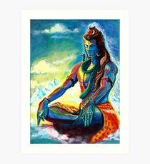 Majestic lord Shiva in Meditation Art Print