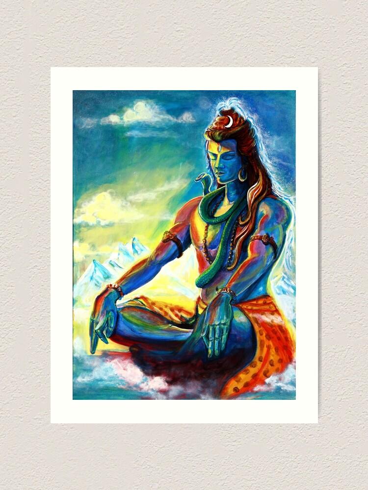 Alternate view of Majestic lord Shiva in Meditation Art Print