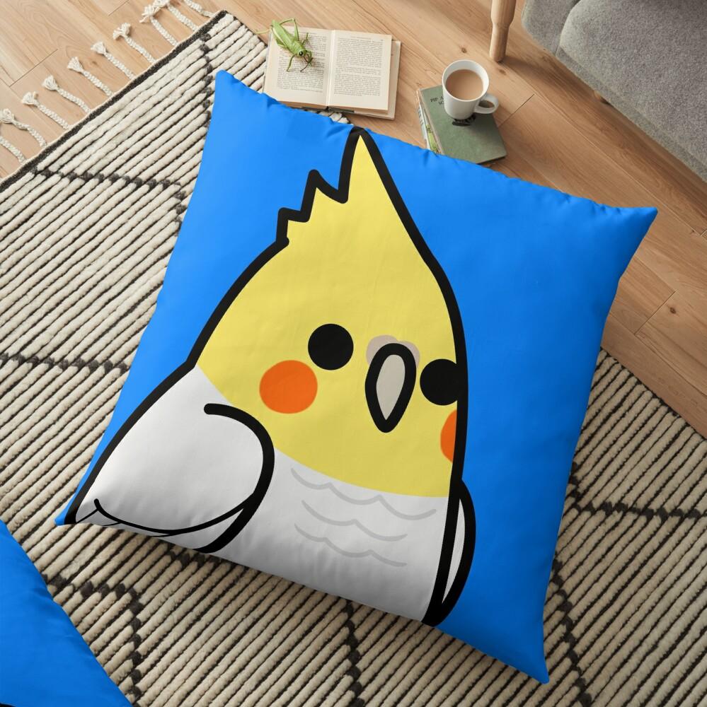 Too Many Birds! - Lutino Cockatiel Floor Pillow