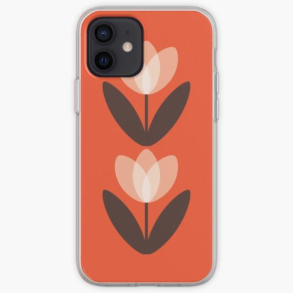 Retro Tulip in Coral Red iPhone Soft Case