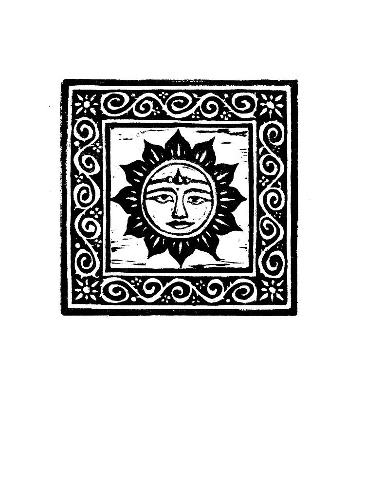 Sun God Linocut - Card by Yvette Bell