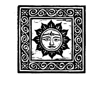 Sun God Linocut - Card by yvettebell