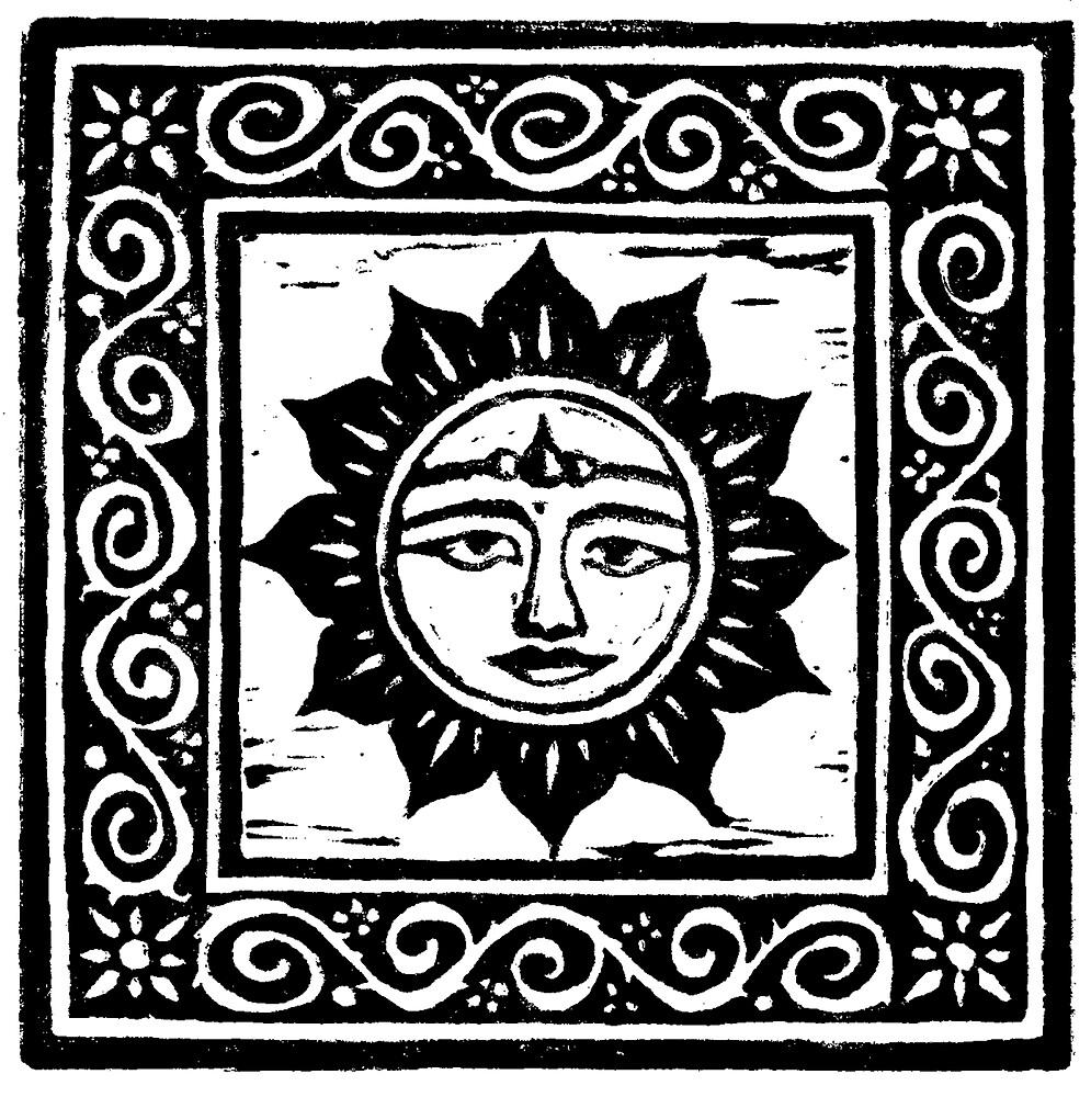 Sun God Linocut by Yvette Bell