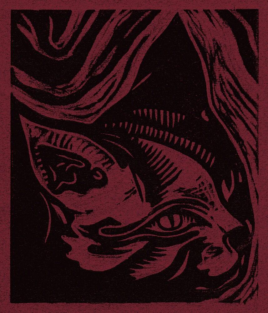 Linocut Portrait of a Cat by Yvette Bell