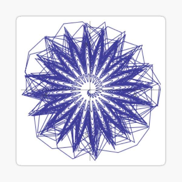 Spiral: plot x=(q(1+sin(20*pi*2^q)/3))*cos(pi*2^q), y=(q(1+sin(20*pi*2^q)/3))*sin(pi*2^q),   q = 0 to 6 Sticker
