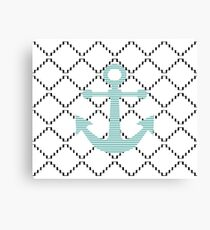 Abstract geometric pattern - black and white - blue anchor Canvas Print