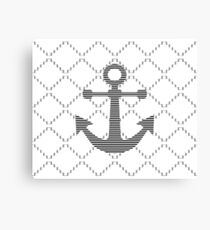 Abstract geometric pattern - gray and white - black anchor Canvas Print