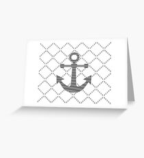 Abstract geometric pattern - gray and white - black anchor Greeting Card