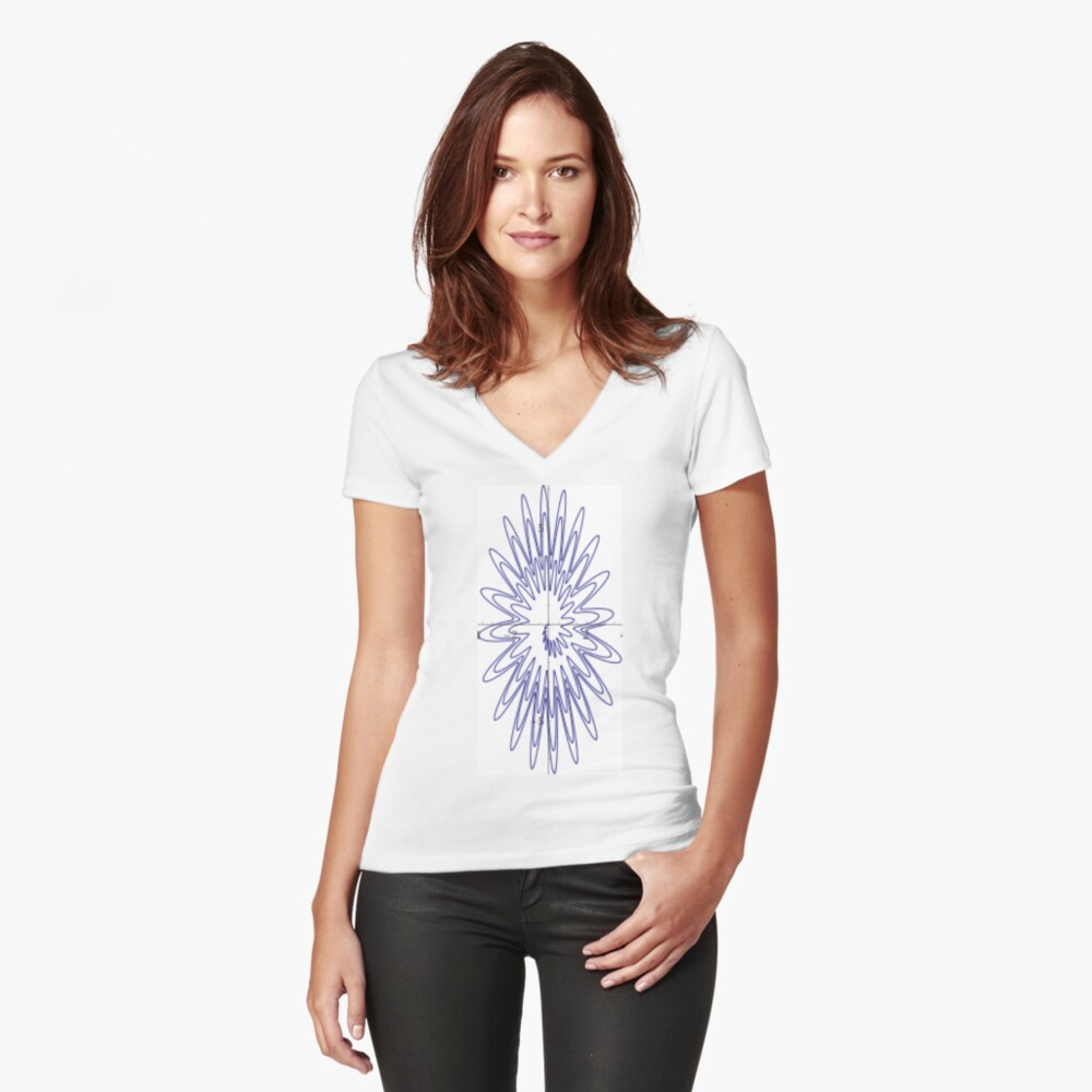 Spiral: plot x=(q(1+sin(20*pi*2^q)/3))*cos(pi*2^q), y=(2*q(1+sin(20*pi*2^q)/3))*sin(pi*2^q),   q = 0 to 3 Fitted V-Neck T-Shirt