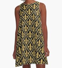 Gold Fleur-de-Lis Pattern A-Line Dress