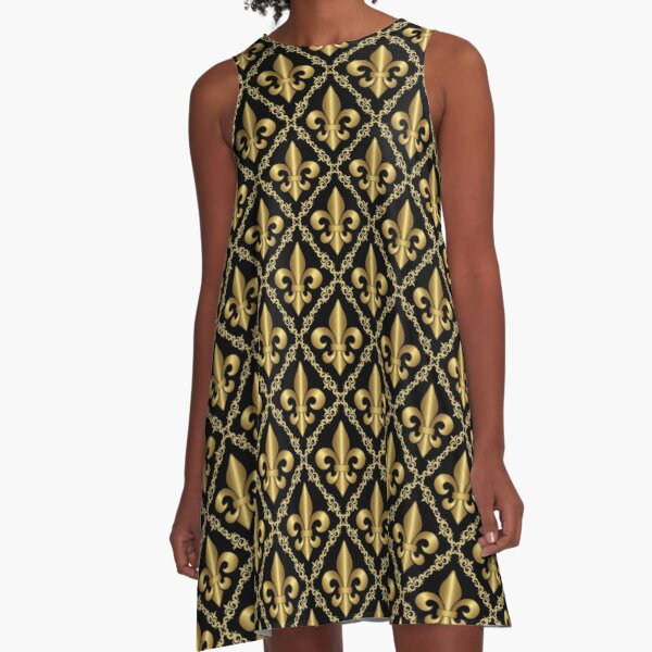Gold Fleur-de-Lis Pattern A-Line Dress
