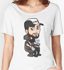 Mass Effect - Jeff Joker Moreau Normandy Pilot with EDI Chibi Sticker Women's Relaxed Fit T-Shirt