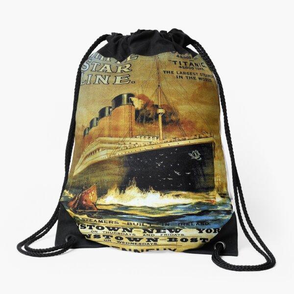 Titanic Sailing Ship Cruise Vintage Poster T-Shirt Drawstring Bag
