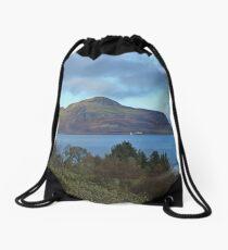 Holy Isle view Drawstring Bag