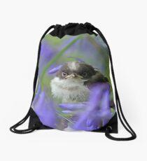 Bird in the blue Drawstring Bag