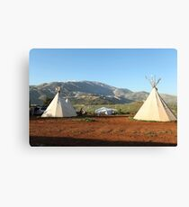 Indian tents on camp ground  Canvas Print