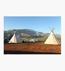 Indian tents on camp ground  Photographic Print