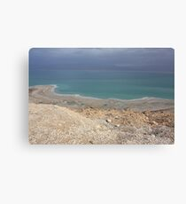 Blue and turquoise in the Dead sea desert  Canvas Print