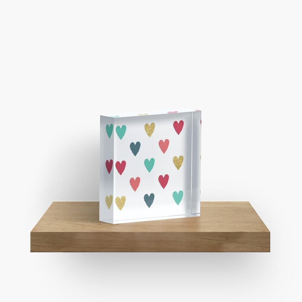 Colorful Mini Hearts Acrylic Block