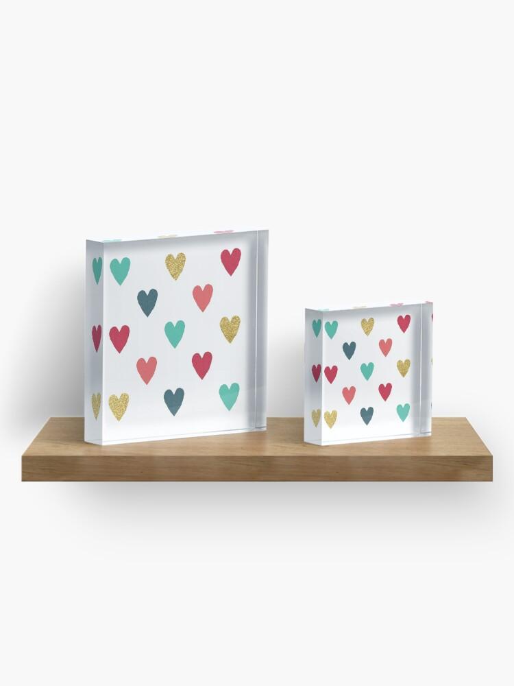 Alternate view of Colorful Mini Hearts Acrylic Block