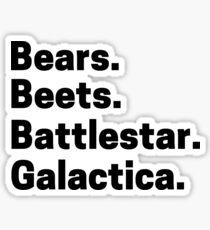 bears beets battlestar galactica Dwight office episode scene Sticker