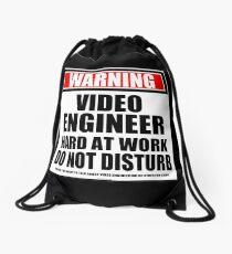 Warning Video Engineer Hard At Work Do Not Disturb Drawstring Bag