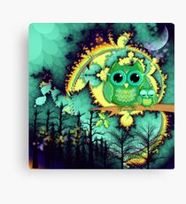 Owls in a magical blue moon night Canvas Print