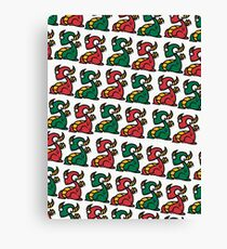Craig the Dragon - Green Red Yellow Pattern Canvas Print