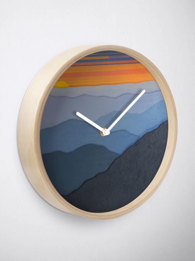 Alternate view of Modern Blue Ridge Parkway Sunset #102 Clock
