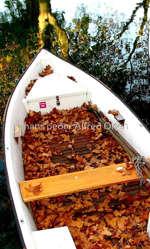 Boat in Autumn by hans p olsen