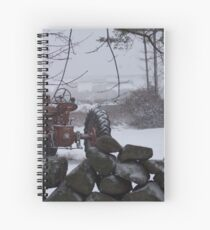 Snow on a Old Red Tractor  Spiral Notebook