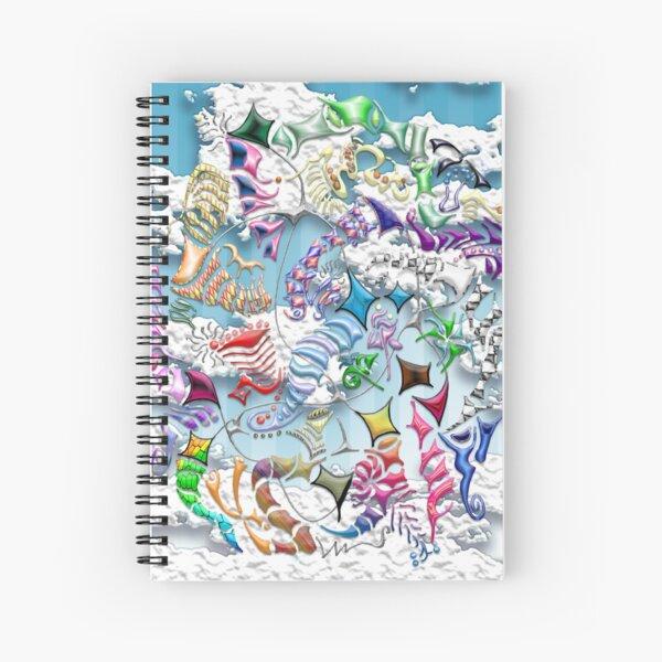 Battling Kites (Blue) Spiral Notebook