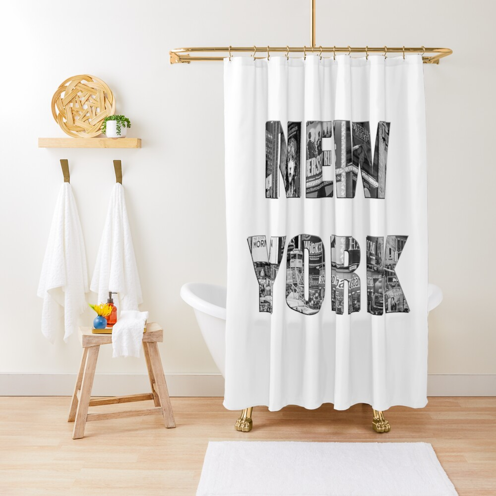 New York (b&w photo filled flat type on white) Shower Curtain