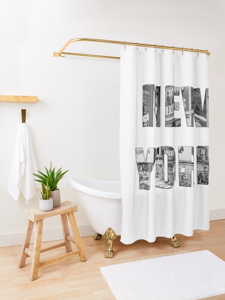 Alternate view of New York (b&w photo filled flat type on white) Shower Curtain