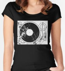 Retro Distressed Record Player Tunrntable Women's Fitted Scoop T-Shirt