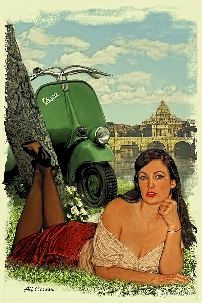 Quot Vespa Pin Up Girl Quot By Alf Caruana Redbubble