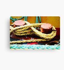 Newlyn Fishing Boat Rope Detail Canvas Print
