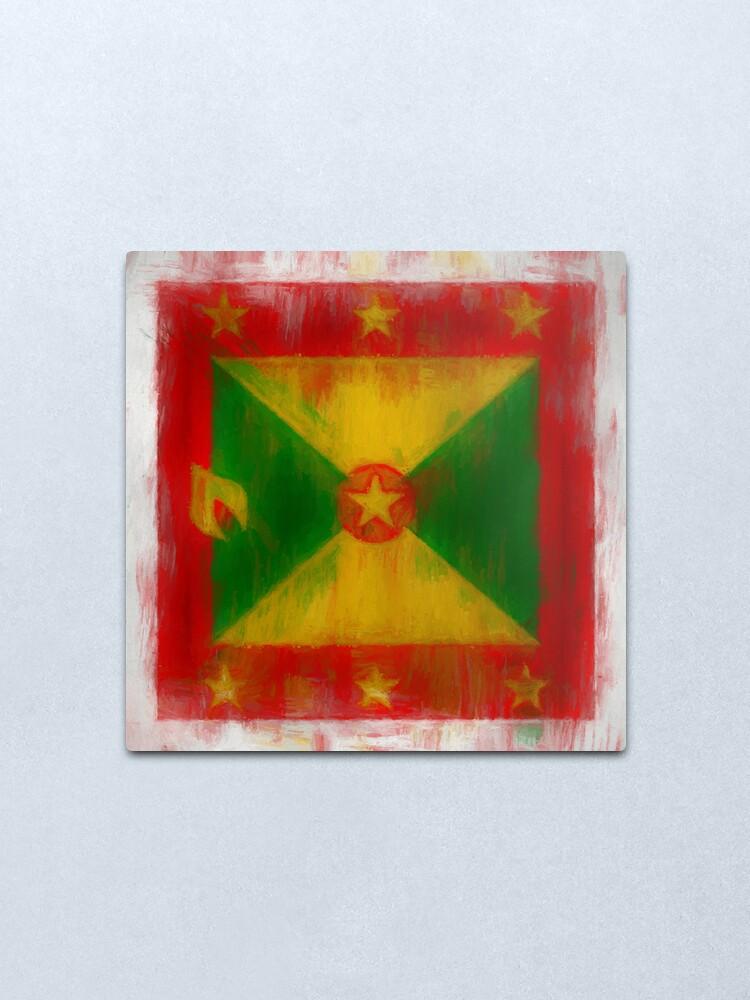 Alternate view of Grenada Flag Reworked No. 2, Series 2 Metal Print