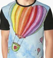 Rainbow Heart Hot Air Balloon Graphic T-Shirt