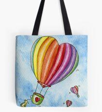Rainbow Heart Hot Air Balloon Tote Bag