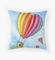 Rainbow Heart Hot Air Balloon Throw Pillow
