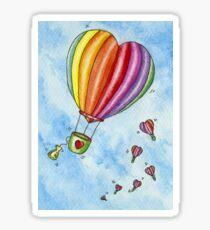 Rainbow Heart Hot Air Balloon Sticker