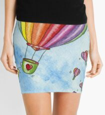 Rainbow Heart Hot Air Balloon Mini Skirt